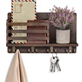LIBWYS Wall Mounted Mail Holder with 4 Double Key Hooks Wooden Mail Sorter Rustic Home Decor for Entryway Mudroom Hallway Kit