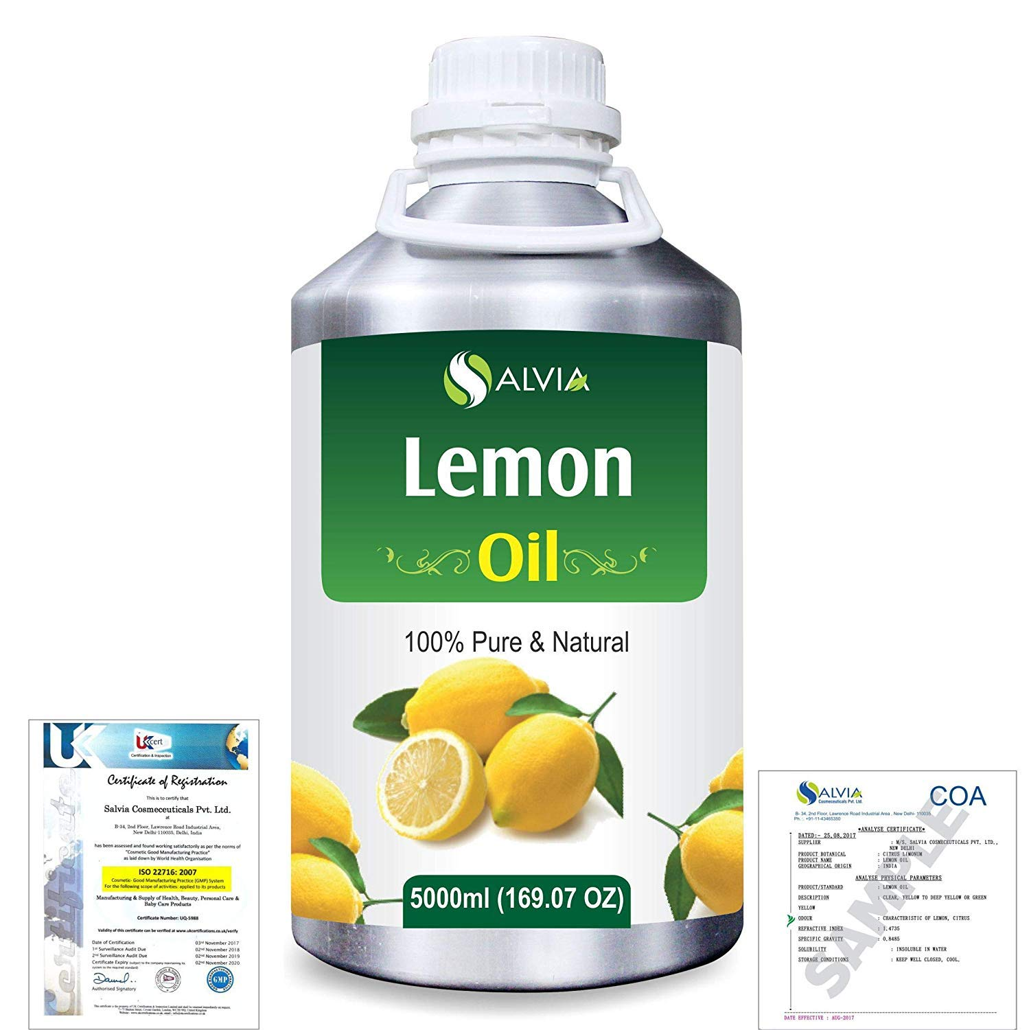 Lemon (Citrus Limonum) Pure Natural Aromatherapy Therapeutic Uncut Undiluted Essential Oil 5000ml/169 fl. oz. Express Shipping