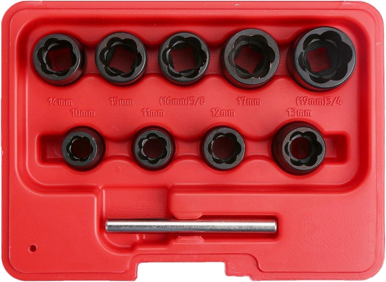 WINTOOLS 10PC 3//8 DR Locking Wheel Twist Socket Damaged Rounded Worn Nut Remover 10~19mm
