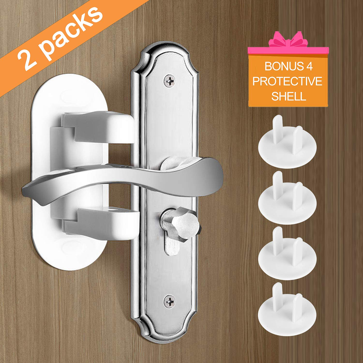 MAOMAO 2 Pack Door Lever Lock, Child Proof Door Handle Locks Child Safety 3M Adhesive with 4pcs Baby Outlet Plug Covers for Gift