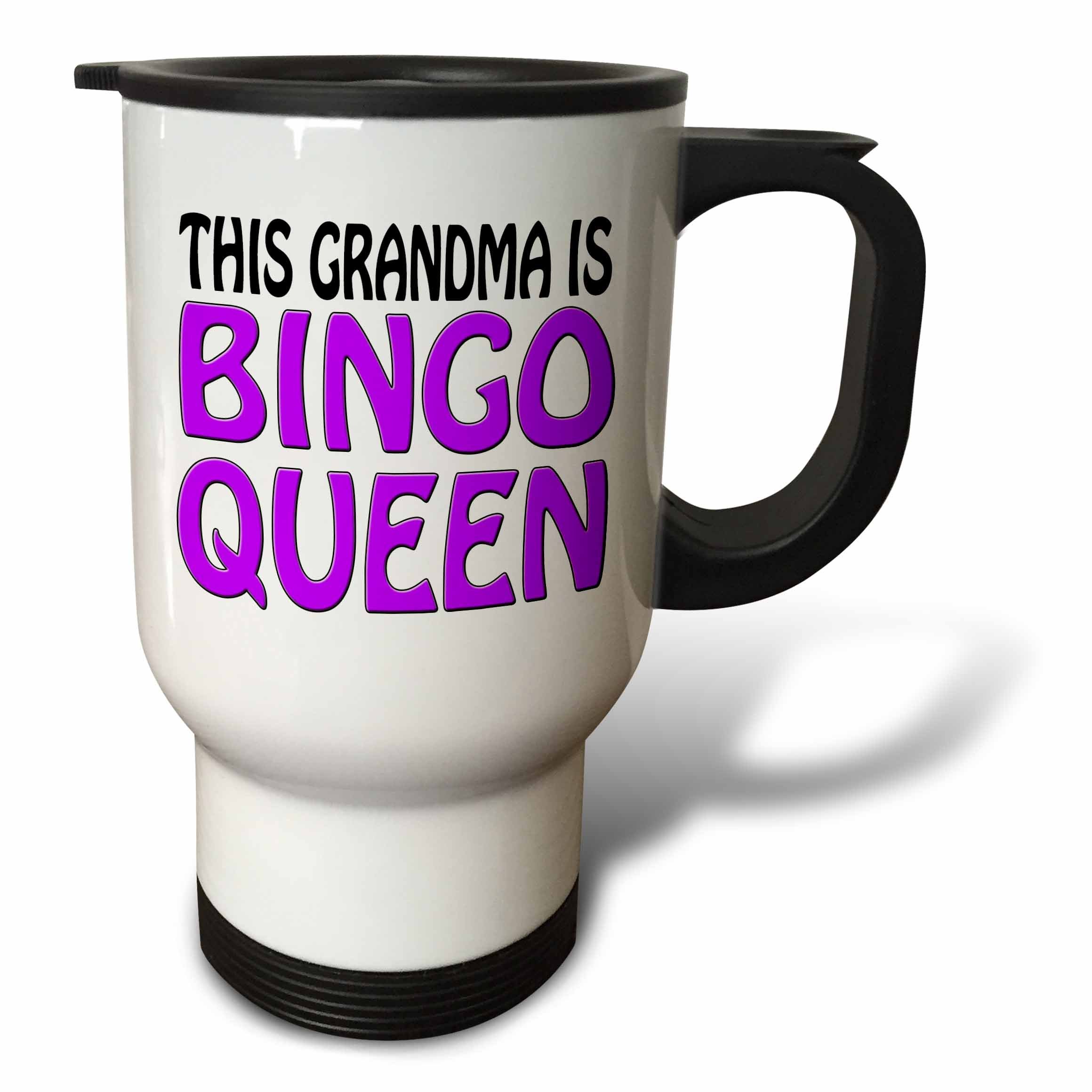 3dRose This Grandma is Bingo Queen Purple Travel Mug, 14-Ounce by 3dRose