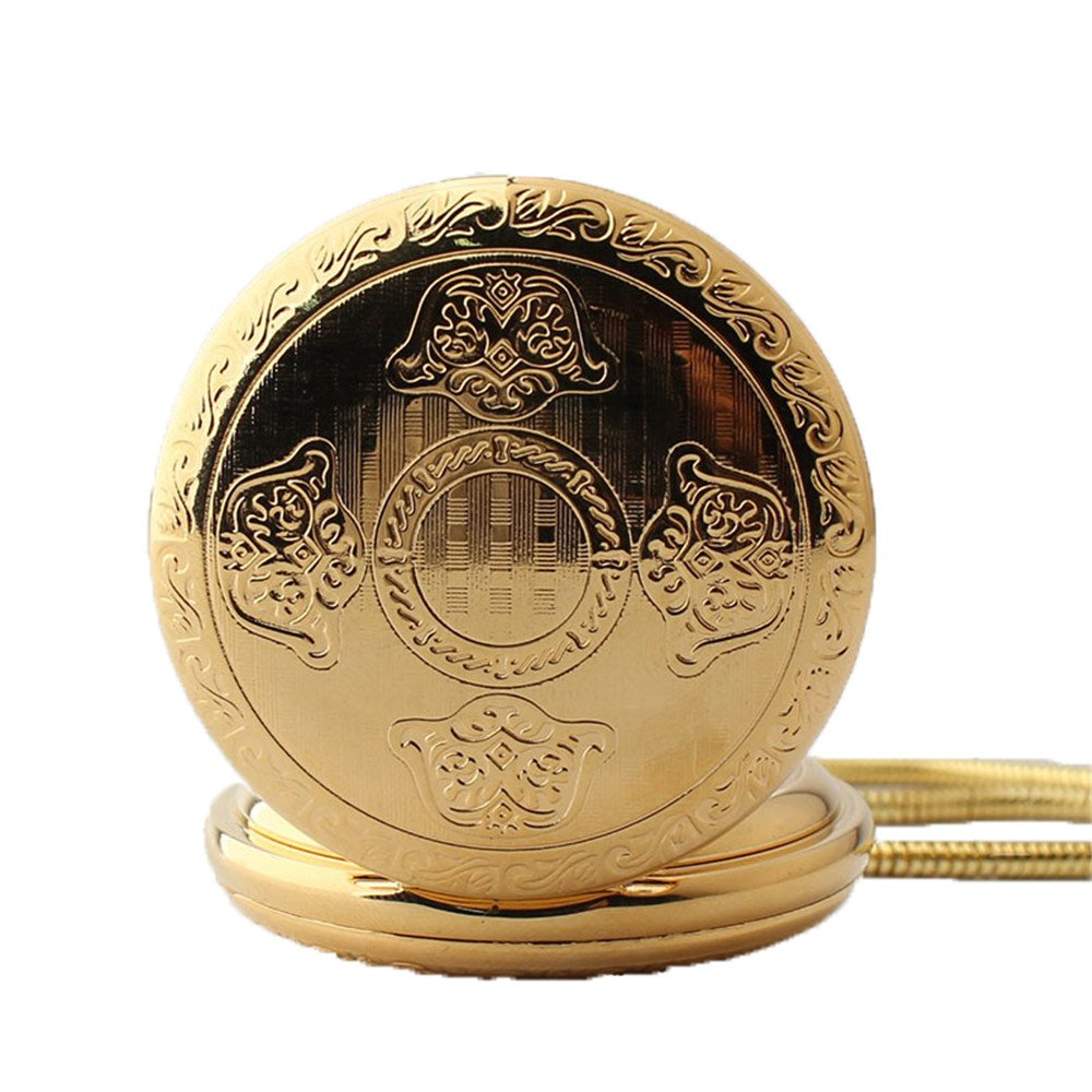 Zxcvlina Classic Smooth Men Women Mechanical Pocket Watch Golden Retro Carved Pocket Watch with Chain Suitable for Gift Giving by Zxcvlina (Image #3)