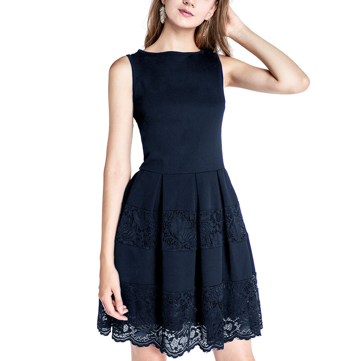 Dressystar Women Sleeveless Cocktail Party Dress Floral Lace Skirt See-Through at Amazon Womens Clothing store: