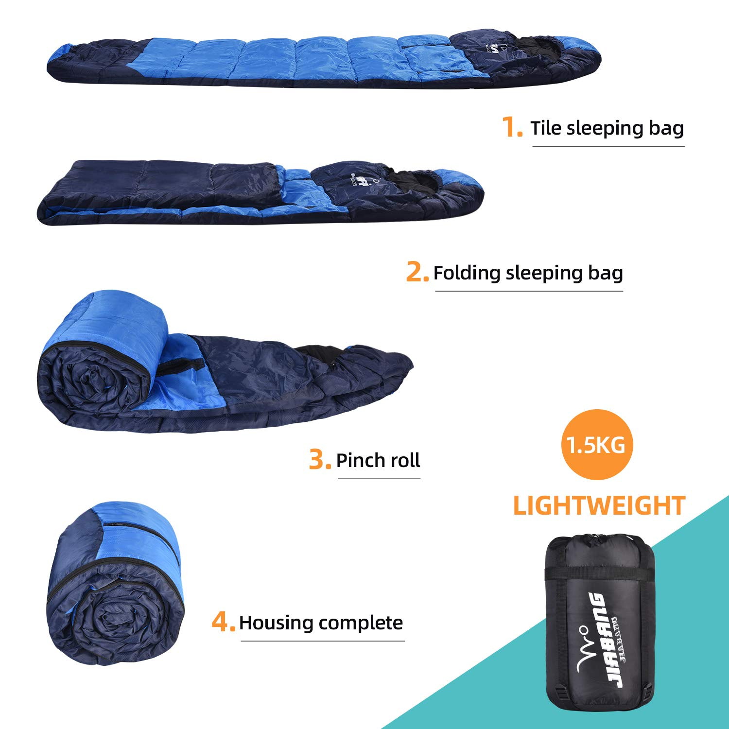 jiabang 1.5 KG Sleeping Bags for Adults 3-4 Seasons Camping-Extra Large Warm Lightweight Mummy Sleeping Bag with Compression Sack Ideal Gear for Hiking Backpacking