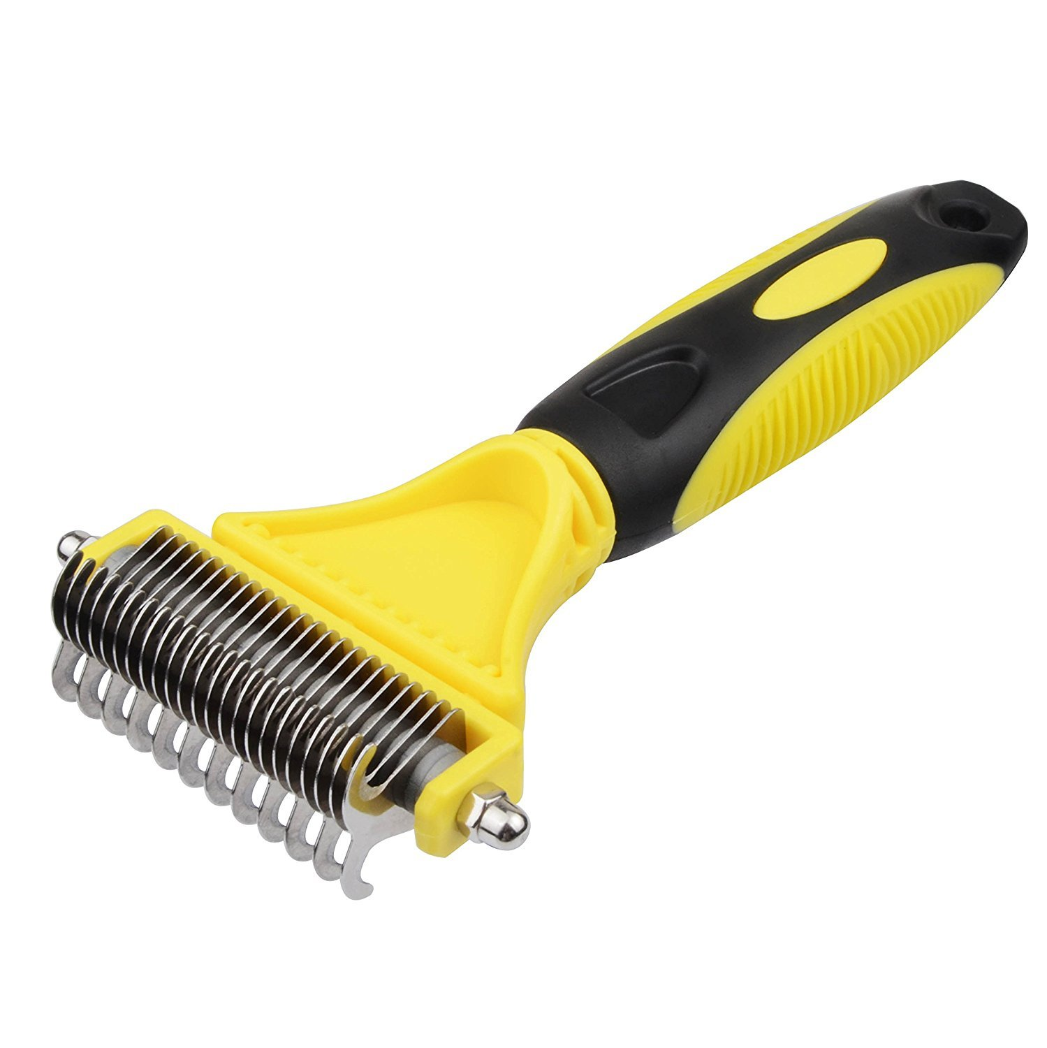 Preself Pet Dematting Comb ,Grooming Brush Tool for Dogs and Cats,2 Sided Steel Rake Brush for Small Medium and Large Breeds with Medium and Long Hair