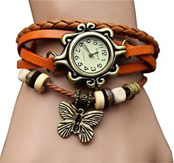 aohang Original Mujer Vintage Relojes, pulsera mariposa colgante, color amarillo