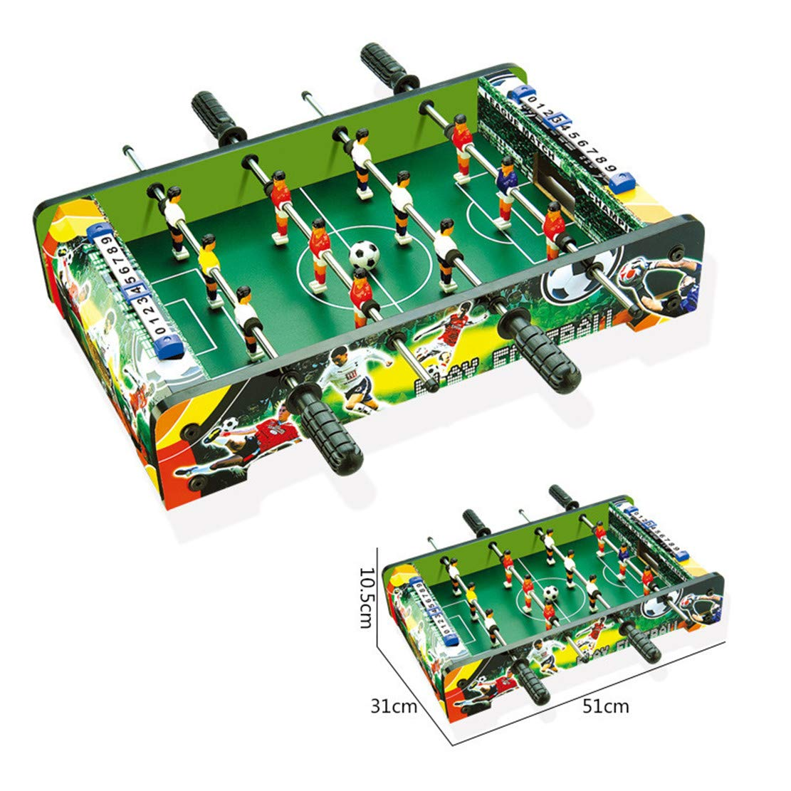 MSTQ Large Football Table Wooden Indoor Soccer Table 6 Football Table Double Battle Desktop Board Game Children Sports Toys 9 Models (801, L) by MSTQ