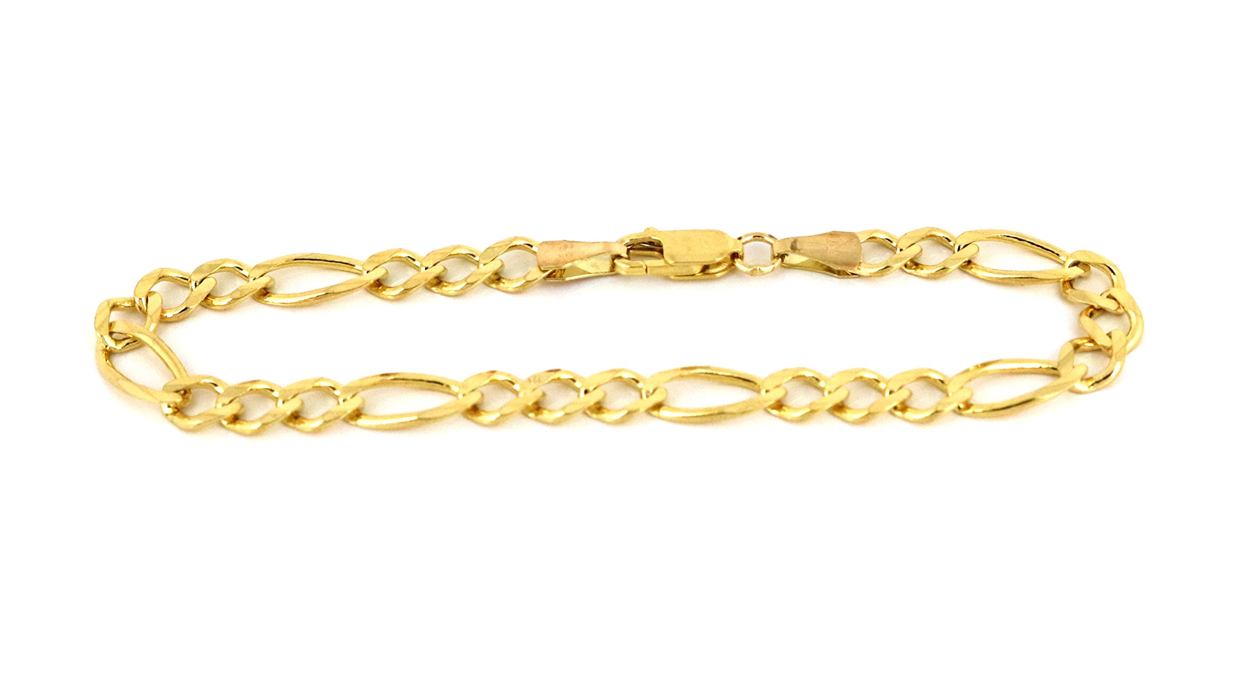 Real 10K Yellow Gold Hollow Figaro Bracelet 4.0mm, 7'' to 10'' (8)
