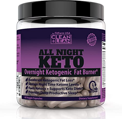 CLEAN LEAN ALL NIGHT KETO First Ever Overnight Ketogenic Fat Burner Sleep Aid BHB Ketones MCT Oil Vitamins Immunity Complex 24 HR Diet Sleep Great Lose Weight All Natural GF 60 Caps