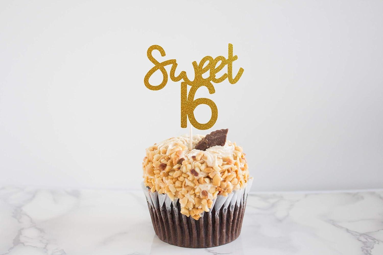 Sweet 16 Party Sweet 16 Glitter Birthday Cupcake Toppers Milestone Birthday 16th Birthday Cupcake Topper Set of 12
