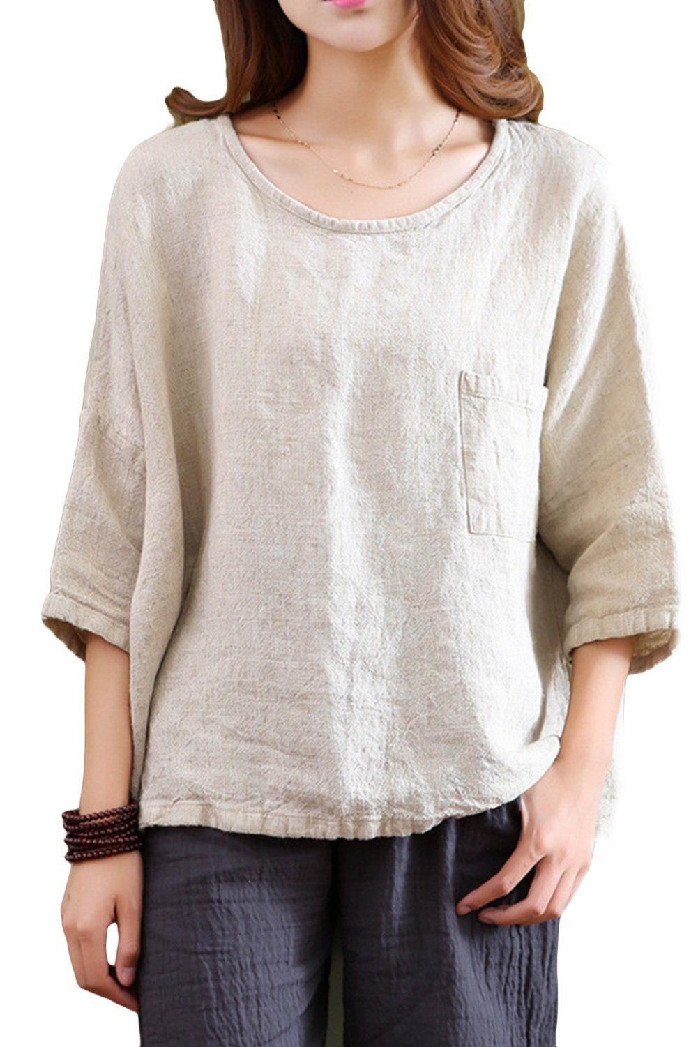 Asher Women's Essential Casual Loose Solid Cotton Linen Tops Blouses (One Size, Beige)