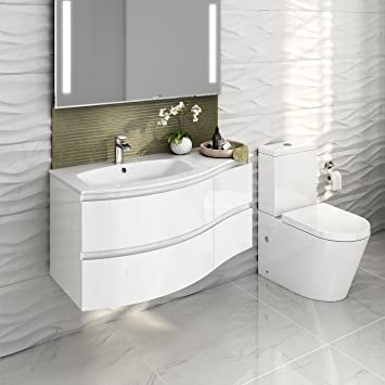 Gloss White Bathroom Suite Two Piece Curved Wall Hung Vanity Unit Sink U0026  Toilet