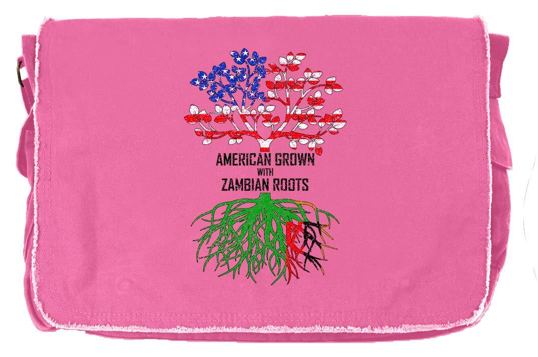 Tenacitee American Grown with Zambian Roots Flamingo Raw Edge Canvas Messenger Bag