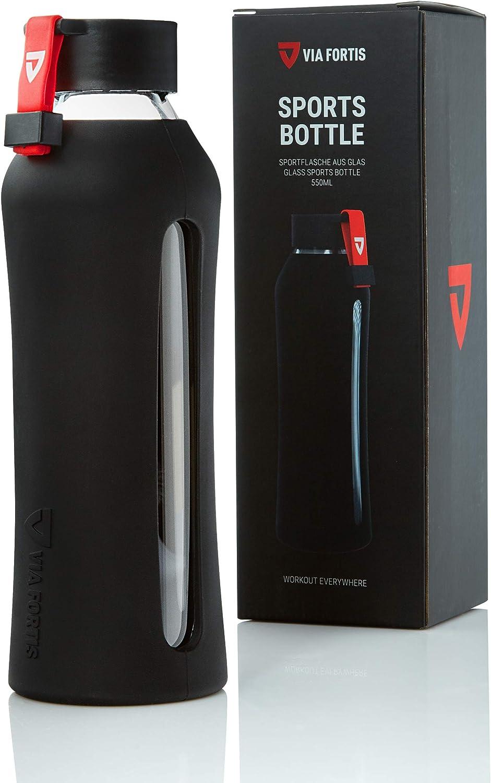 Via Fortis Botella de cristal – Botella de agua para deportes, fitness, gimnasio, niños, bicicleta y oficina – Botella deportiva / botella de cristal – Irrompible & libre de BPA – 550 ml
