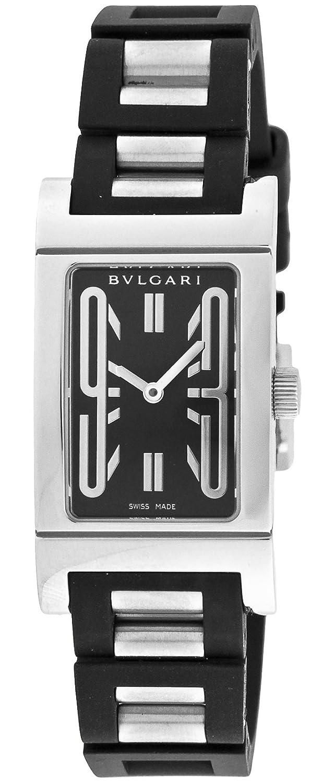 Bvlgari Rettangolo Ladies Negro Goma & reloj de pulsera de acero inoxidable, esfera de color negro Bulgari rt39sv: Amazon.es: Relojes