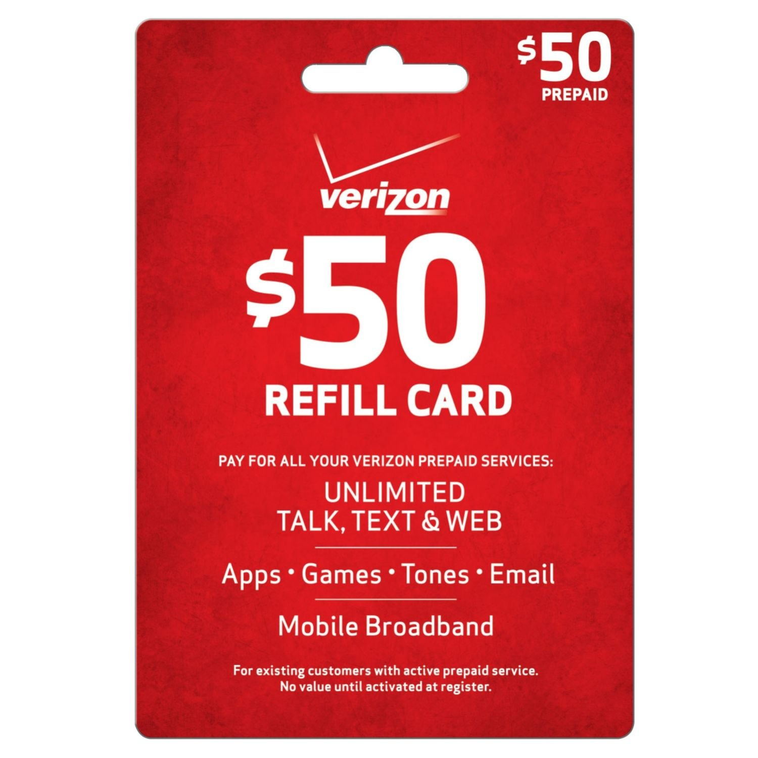 Verizon $50 Prepaid Refill Card (mail delivery)