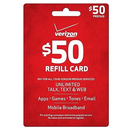 Amazon.com: Verizon $50 Prepaid Refill Card (entrega por ...