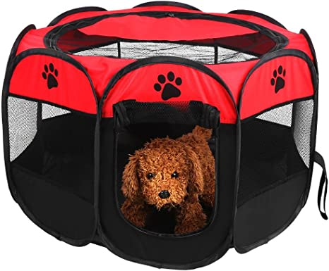 Pet Playpen For Dogs Portable Foldable Exercise Kennel Waterproof Removable Mesh Shade Cover Cat And Dog Cage Fence Crates Tent Dogs//Cats//Rabbit Puppy Playpen Indoor And Outdoor Use