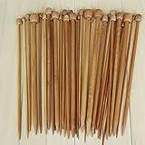 Misswonder 18 Sizes Carbonized Bamboo Knitting Needles Single Pointed Needles Set
