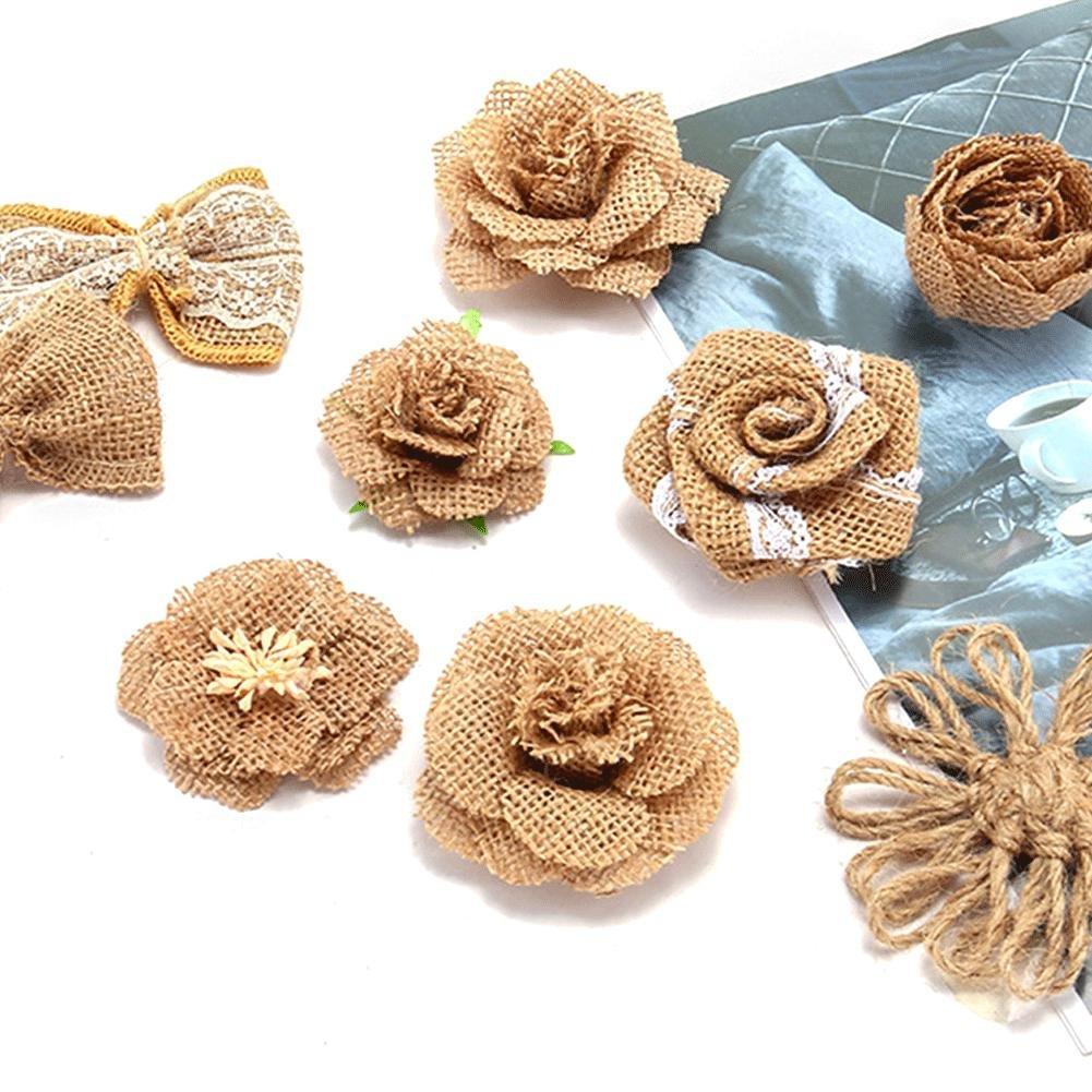 9 pcs//Set /À La Main Lin Tissu Tissu Fleurs Toile de Jute Roses Pour Les Cadeaux De No/ël D/écorations De Mariage DIY Bijoux D/écoratif Fleur Artificielle