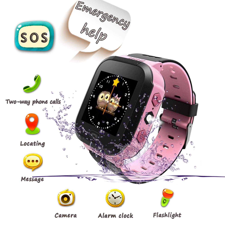 UK XUN Smartwatch para Niños, Llamada de Emergencia SOS, localizador GPS, Perímetro de Seguridad, Cámera, Alarma, Linterna, Juegos Digitales, Reloj Inteligente para niños de 3-14(ROSA) product image