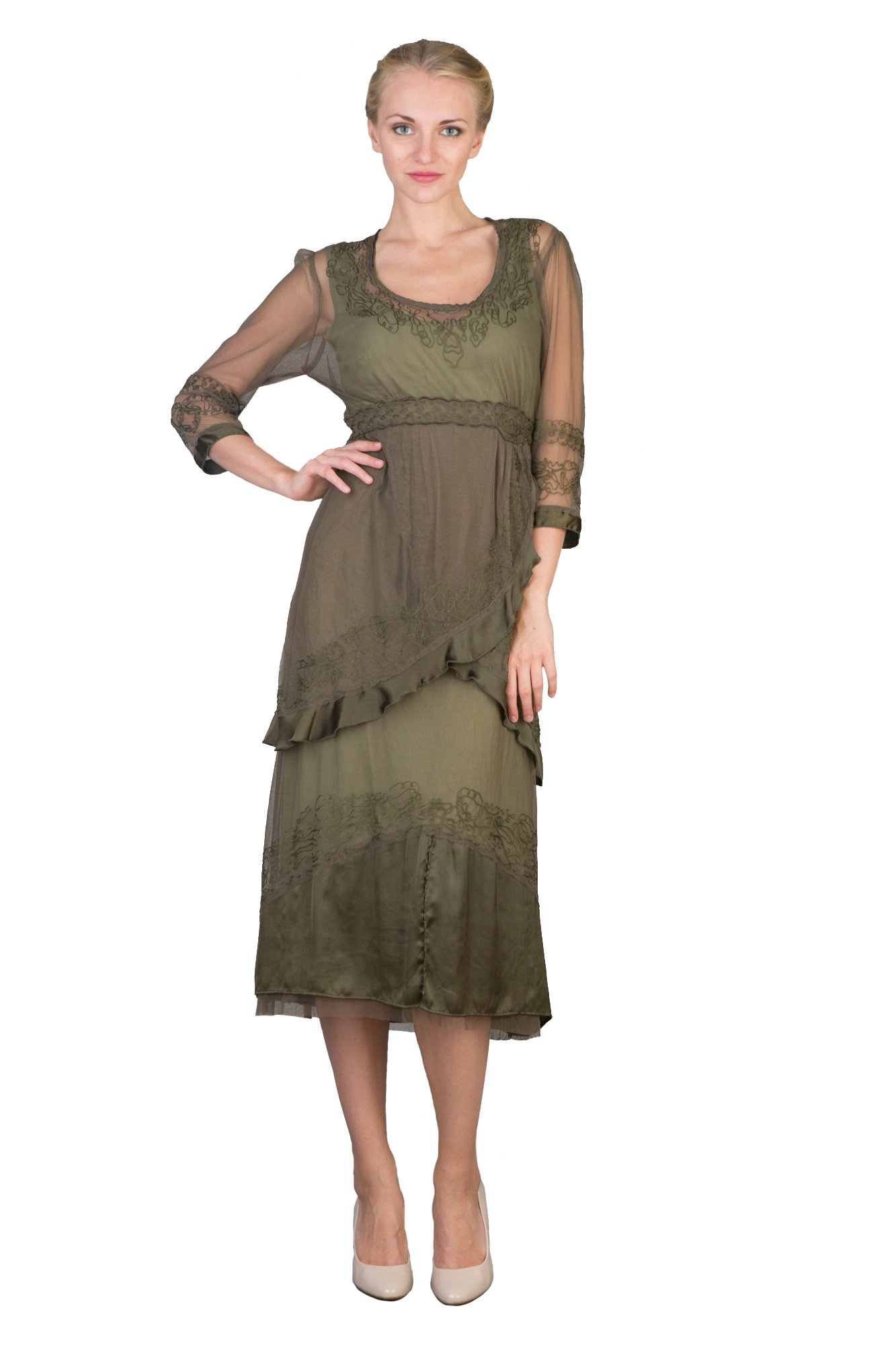 Nataya 40221 Romantic Vintage Style Dress in Aloe (XL) by Nataya