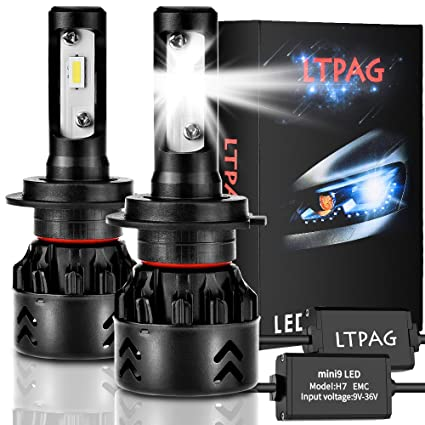 LTPAG Bombilla H7 LED Coche, 2pcs 72W 12000LM Lampara H7 LED 12V/24V Luces LED Coche H7, Faros Reemplazo de Halógena y Kit Xenón H7, Blanco 6000K, ...