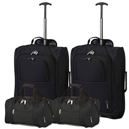 5 Cities Set of 2 Ryanair Cabin Approved Main & Second Hand Luggage - Carry On Both Equipaje de Mano, 54 cm, 42 Liters, Negro (Black)