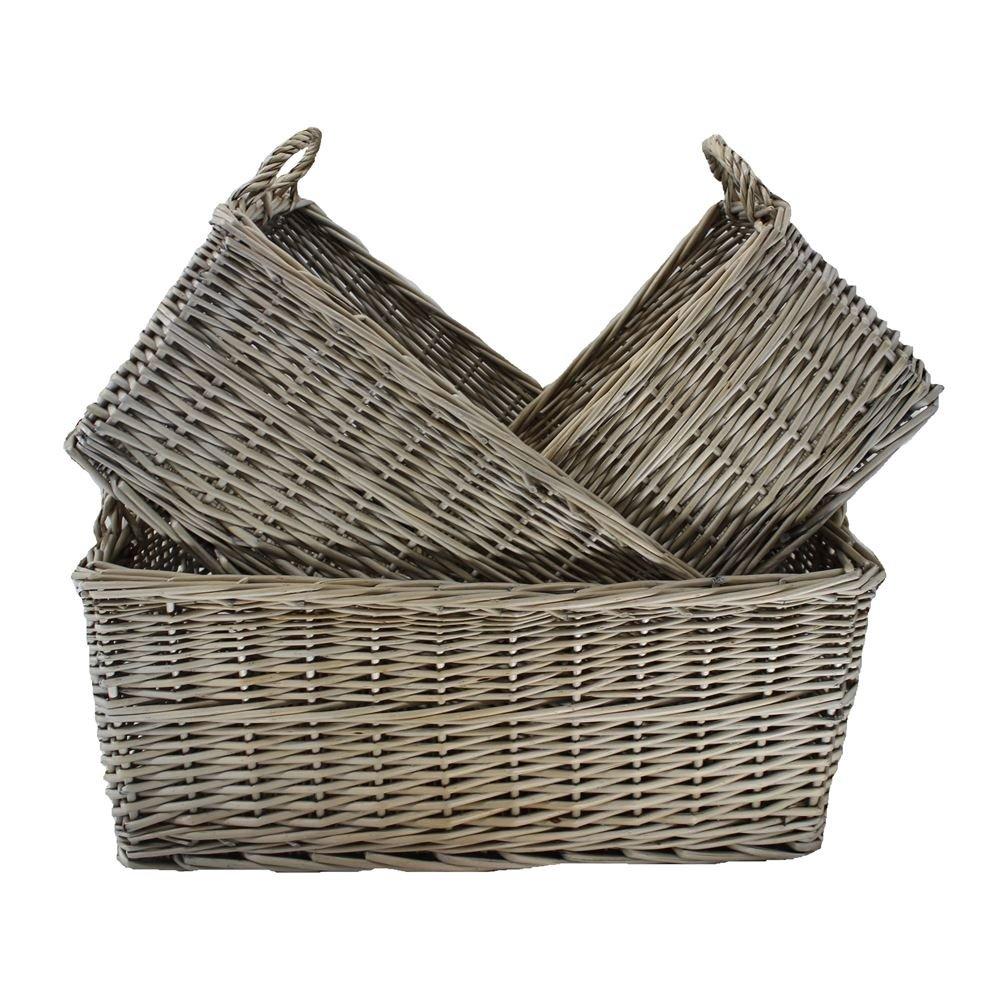 Shallow Antique Wash Storage Wicker Basket Set of 3