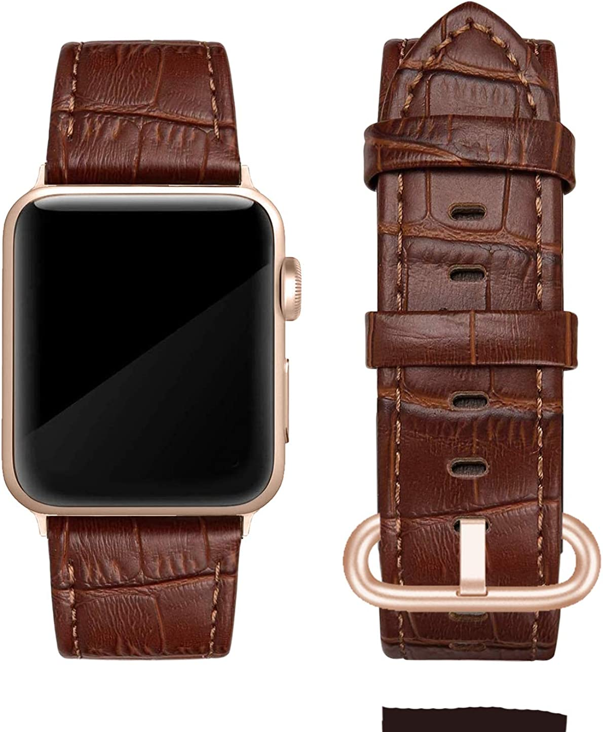 Genuine Leather Band Compatible with Apple Watch 38mm 40mm, Genuine Leather Replacement, Compatible with Series 5/4/3/2/1, Alligator, Rose Gold Buckle