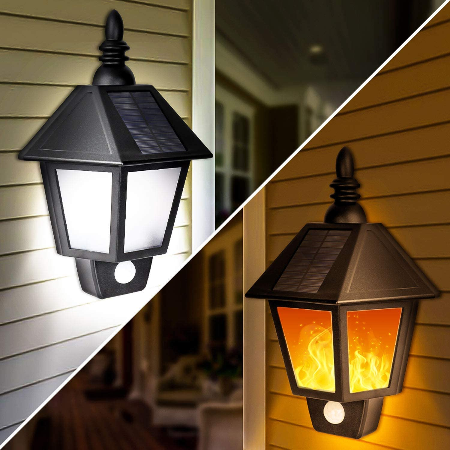 Solar Lights Outdoor, 2 in 1 Sconce Decorative Flickering Flame Wall Lights Dusk to Dawn, Wireless Waterproof Solar Lights Motion Sensor for Outdoor Party, Garden, Patio, Garage, Back/Front Door