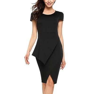 ACEVOG Damen Elegant Etuikleid Business Bleistiftkleid Knielang Kleid Casual Kurzarm Abendkleid mit Schlitz