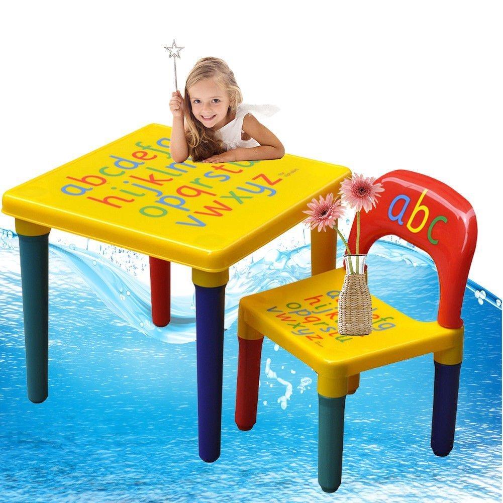 Set di sedie e tavolo per bambini, Alfabeto ABC, Imparare l'illustrazione delle lettere, in plastica GOTOTOP