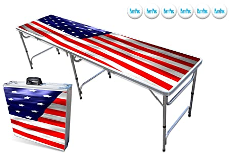 8-Foot Beer Pong Table w/OPTIONAL Cup Holes & LED Color-Changing Glow Lights - 11 Table Designs Available