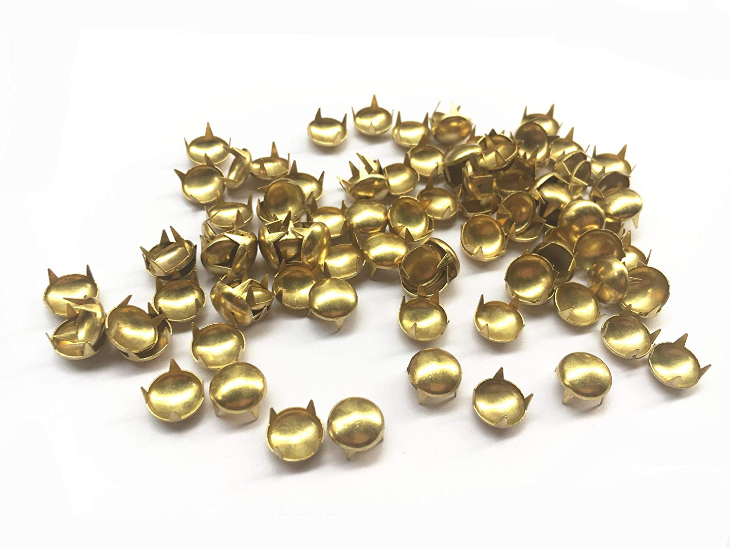 Gold, 9 Mm 100 Pcs Round Dome Studs Metal Claw Beads Nailhead Punk Rivets with Spikes