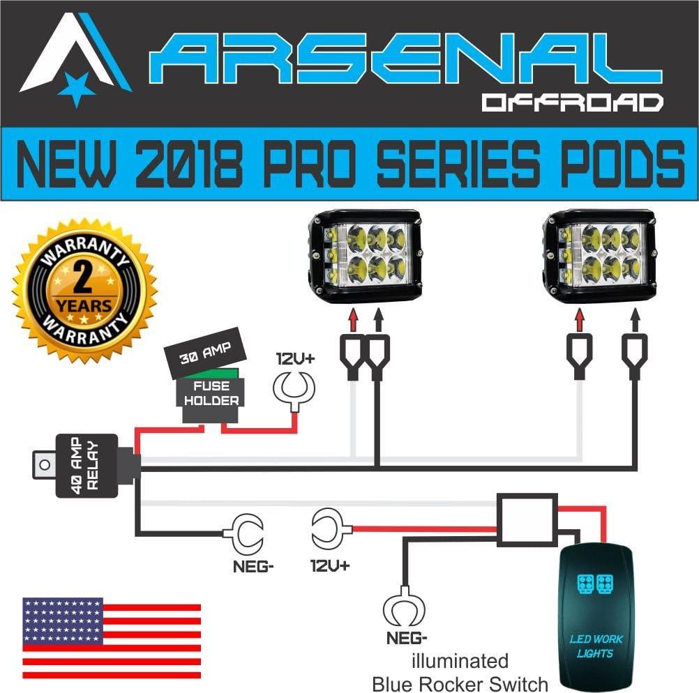 Amazon.com: NO.1 LED POD Light Universal Wire Harness Controls 2 PODS 40  Amp Relay Illuminated BLUE LED Work Light Rocker 16 FT of wire for LED PODS  Cubes UTV SUV SXS RZR | Work Light Wiring Diagram |  | Amazon.com