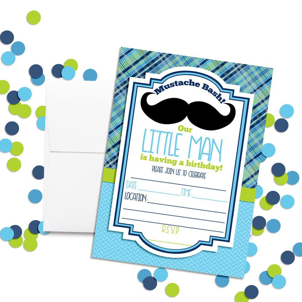 Amazon.com: Mustache Bash Little Man Fill in Birthday Invitations ...