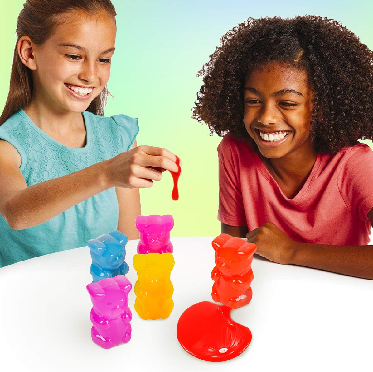 Kids 12 Pack Neon Gooey Slimes in Gummy Bear Shaped Jars Squishing and Squashing for Party Favors Therapy Stress Reliever Kicko Gummy Bear Slime