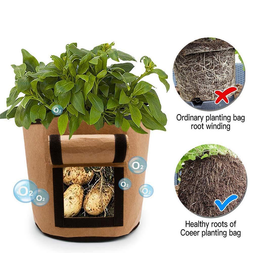 SUNSHINETEK Potato Grow Bag 3 Pack Fabric Plant Grow Bags 7 Gallon Breathable Non-woven Window Vegetable Grow Bag Brown+Green+Black, 7 Gallon