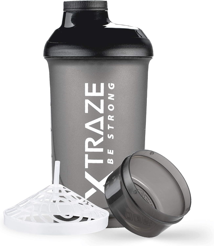 XTRAZE® Botella Mezcladora de Proteínas de 500 ml, Compartimiento para Polvo de 150 ml, Shaker sin BPA, Vaso de Ejercicios a Prueba de Derrames con Balanza, Tamiz para Batidos de Proteina sin Grumos