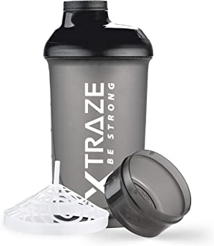 XTRAZE® Botella Mezcladora de Proteínas de 500 ml, Compartimiento para Polvo de 150 ml, Shaker sin BPA, Vaso de Ejercicios a Prueba de Derrames con ...
