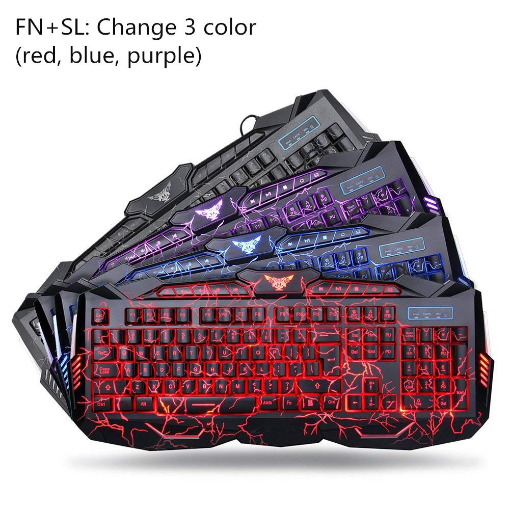 Gaming Keyboard And Mouse Combo Bluefinger Usb Wired Computer Management On A Success Diagram Stock Image Lighted 3 Color Blue Red Purple Led Backlit Crack Set For
