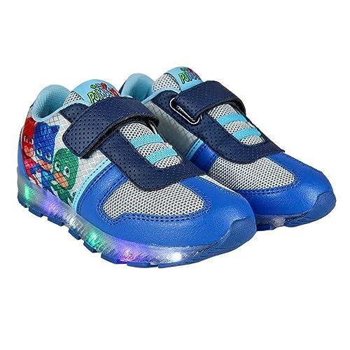 Scarpe bambini PJ MASKS con luci scarpe da ginnastica chiusura velcro  lucine scarpe blu bambino gufetta 0237aa791fa