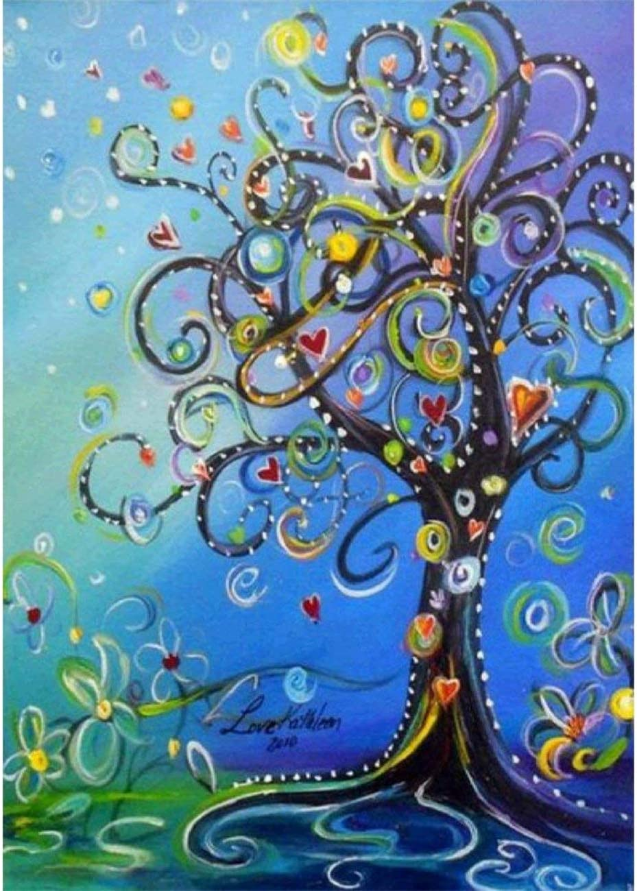 5D Diamond Painting by Number Kit, Love Tree Full Drill Rhinestone Embroidery Cross Stitch Supply Arts Craft Canvas Wall Decor 11.8x15.8 inch