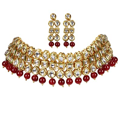 bb2943866dc Buy Andaaz Gold Plated Choker Traditional Kundan Necklace Set for Women  Online at Low Prices in India | Amazon Jewellery Store - Amazon.in