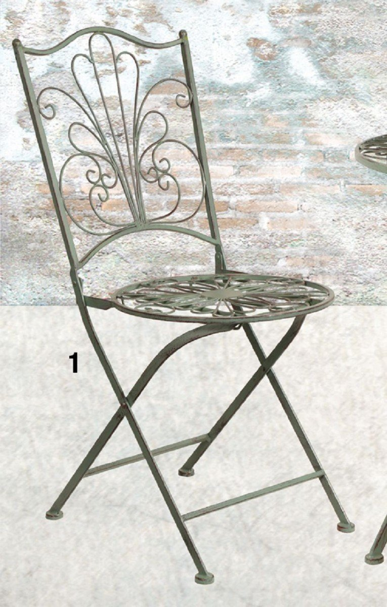 Dreams4Home Gartenmetall Tischset 'Dorey' - Set, 1x Tisch, 1x Stuhl, Metall, Metallmöbel, Vintage, Gartendeko, Balkonmöbel, Gartenmöbel, Terrasse, Outdoor, in grau