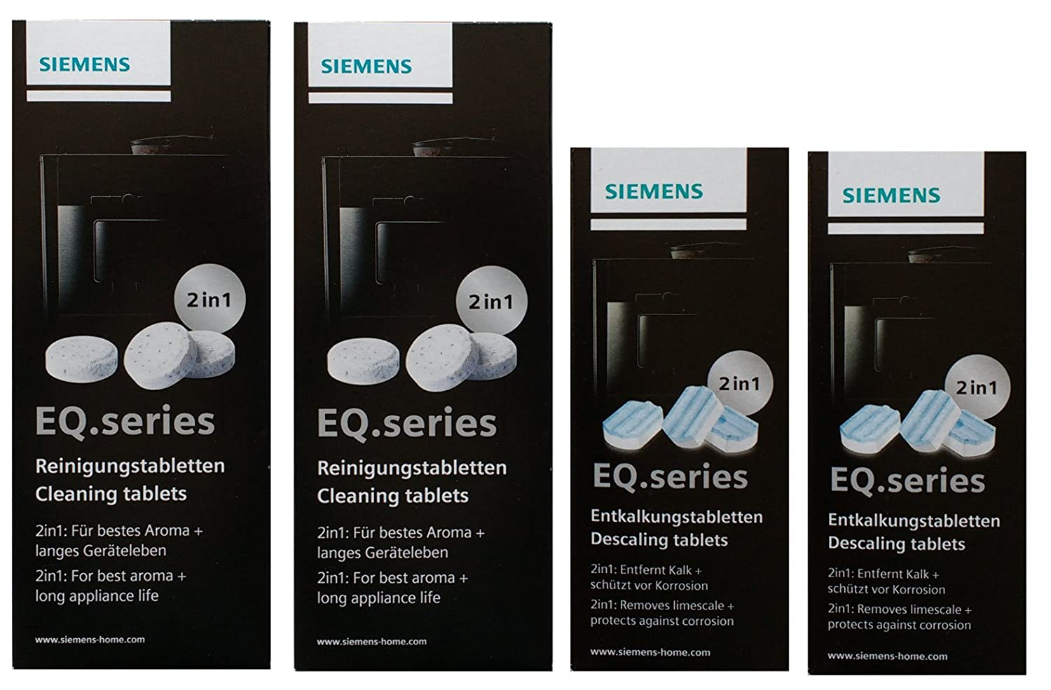 2x Cleaning Tablets (TZ80001) + 2x Siemens Descaling Tablets (TZ80002)