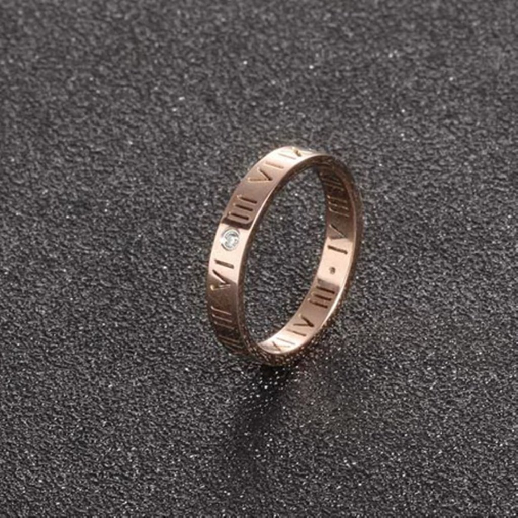 Bishilin Rose Gold Plated 3MM Women Women Band Anniversary Rings Roman Numerals with Zirconia Size 5