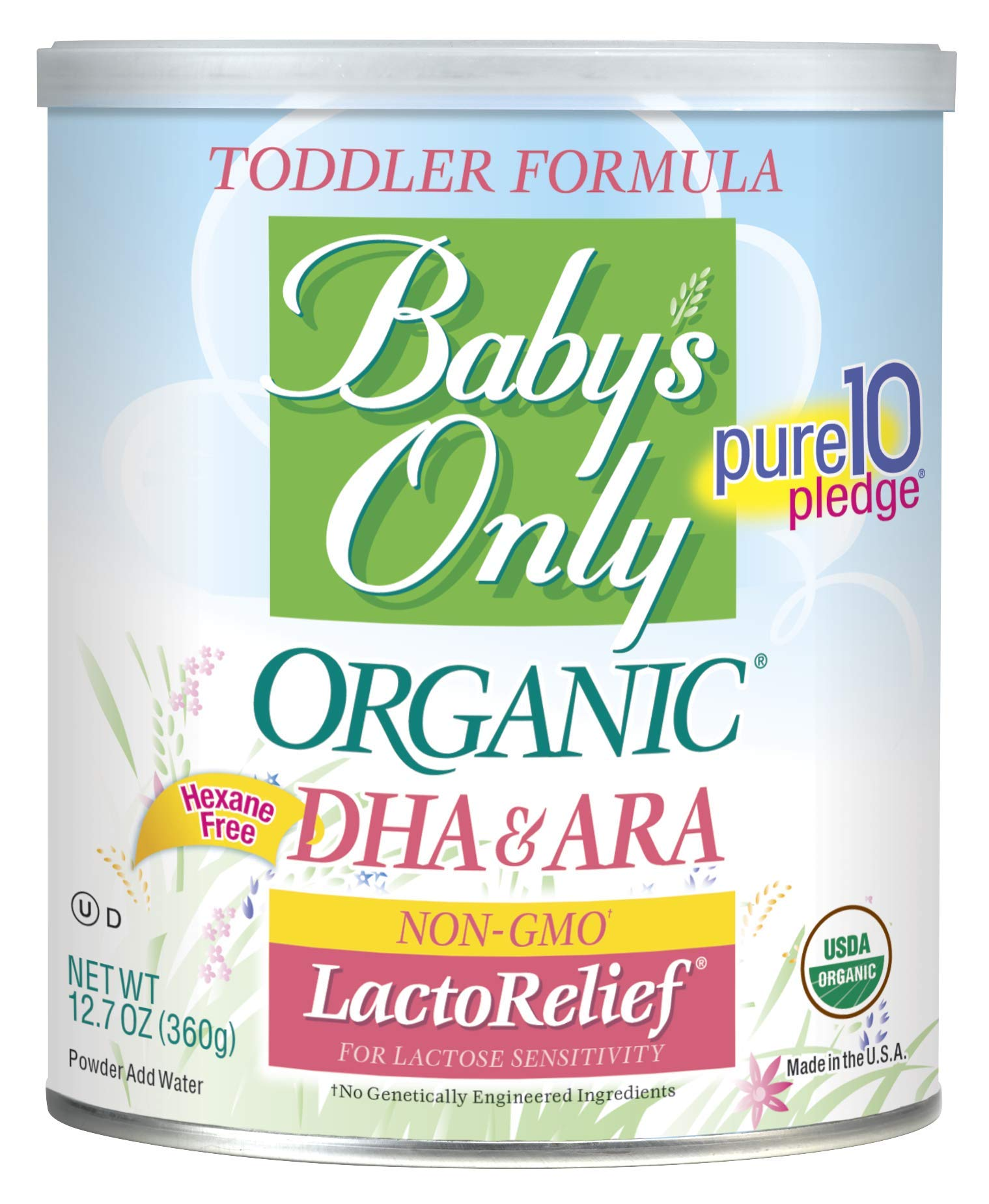 Baby's Only LactoRelief with DHA & ARA Toddler Formula - Non GMO, USDA Organic, Clean Label Project Verified, 12.7 oz (Pack of 6) by Baby's Only