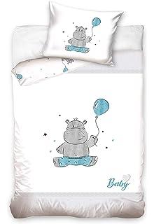 /ÖkoTex Standard 100 Nilpferd Stars Hellblau 40x60 cm 100/% Baumwolle Gr/ö/ße: 100x135 cm Baby Bettw/äsche Set 2tlg